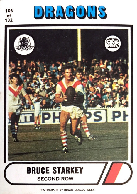 1976 Scanlens #106 BRUCE STARKEY St George Dragons Rugby League Card