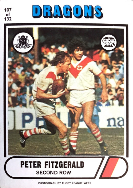 1976 Scanlens #107 PETER FITZGERALD St George Dragons Rugby League Card