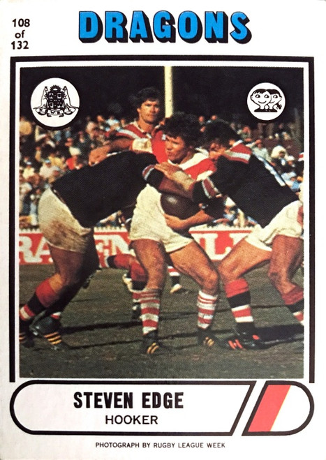 1976 Scanlens #108 STEVEN EDGE St George Dragons Rugby League Card