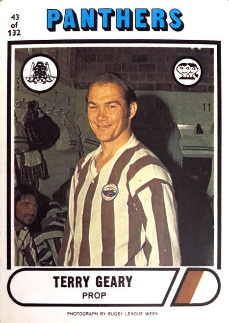 1976 Scanlens #43 TERRY GEARY Penrith Panthers Rugby League Card