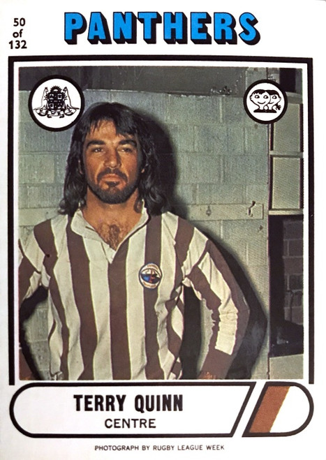 1976 Scanlens #50 TERRY QUINN Penrith Panthers Rugby League Card