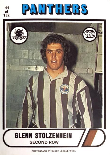 1976 Scanlens #44 GLENN STOLZEHEIN Penrith Panthers Rugby League Card