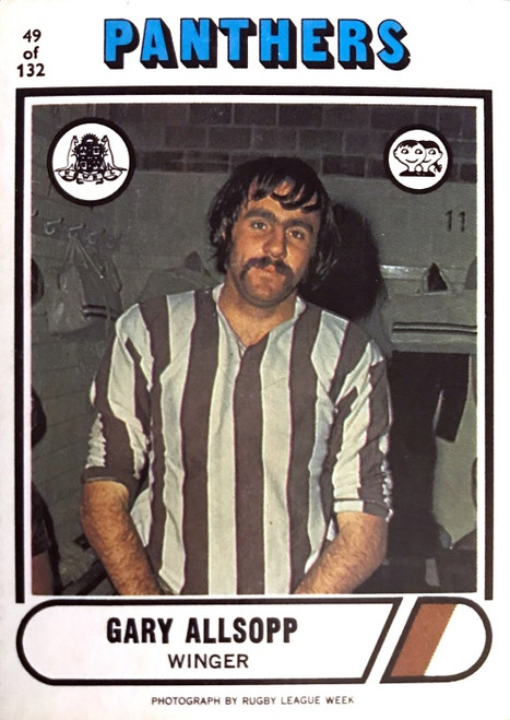 1976 Scanlens #49 GARY ALLSOPP Penrith Panthers Rugby League Card