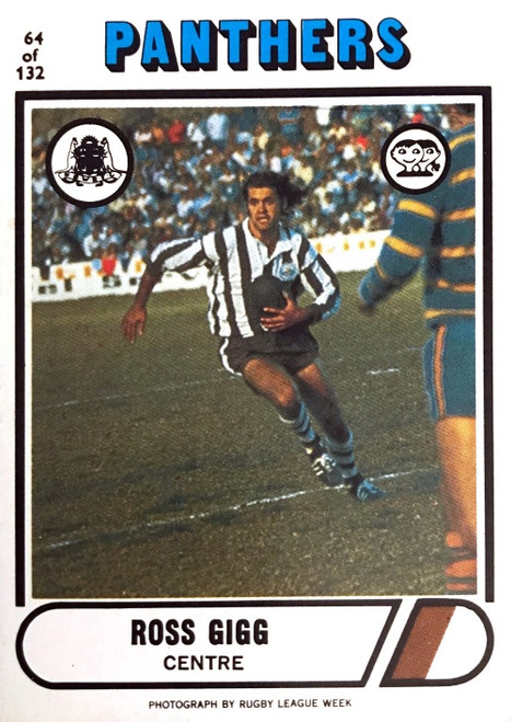 1976 Scanlens #64 ROSS GIGG Penrith Panthers Rugby League Card