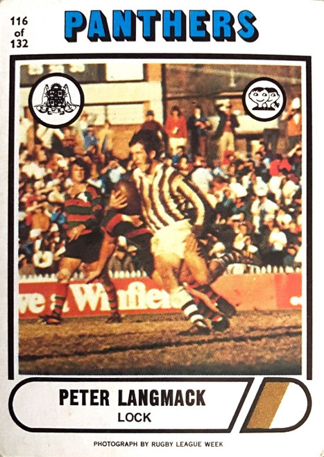 1976 Scanlens #116 PETER LANGMACK Penrith Panthers Rugby League Card
