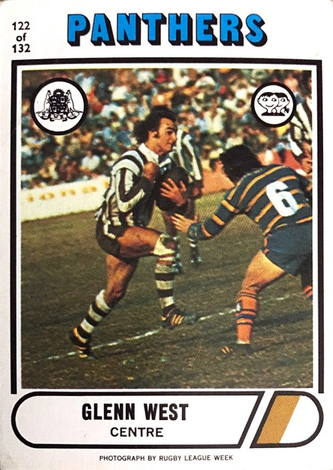 1976 Scanlens #122 GLENN WEST Penrith Panthers Rugby League Card