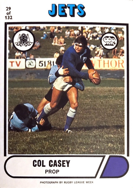 1976 Scanlens #29 COL CASEY Newtown Jets Rugby League Card