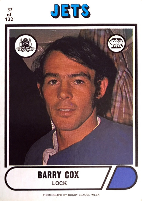 1976 Scanlens #37 BARRY COX Newtown Jets Rugby League Card
