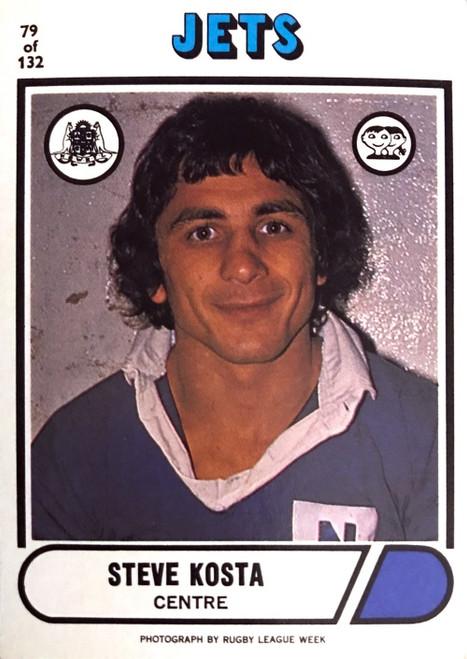 1976 Scanlens #79 STEVE KOSTA Newtown Jets Rugby League Card