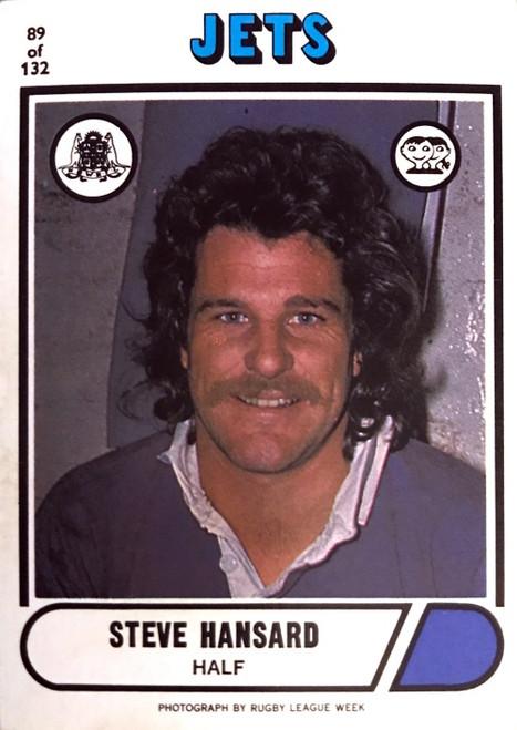 1976 Scanlens #89 STEVE HANSARD Newtown Jets Rugby League Card
