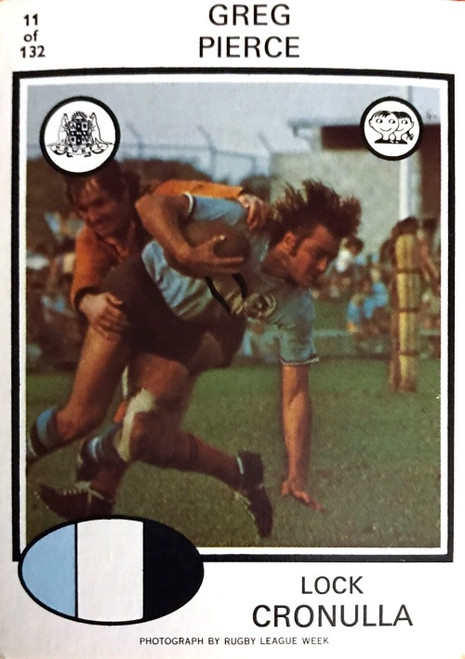 1975 Scanlens #11 GREG PIERCE Cronulla Sharks Rugby League Card