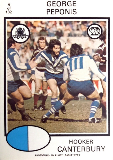 1975 Scanlens #06 GEORGE PEPONIS Canterbury Bulldogs Rugby League Card