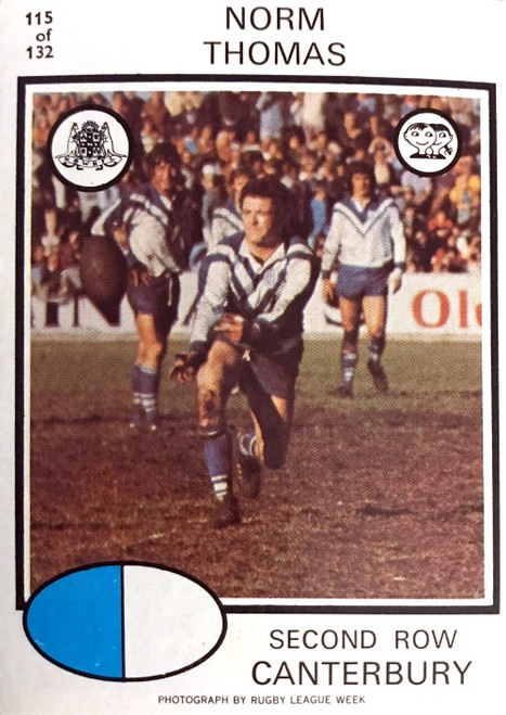 1975 Scanlens #115 NORM THOMAS Canterbury Bulldogs Rugby League Card