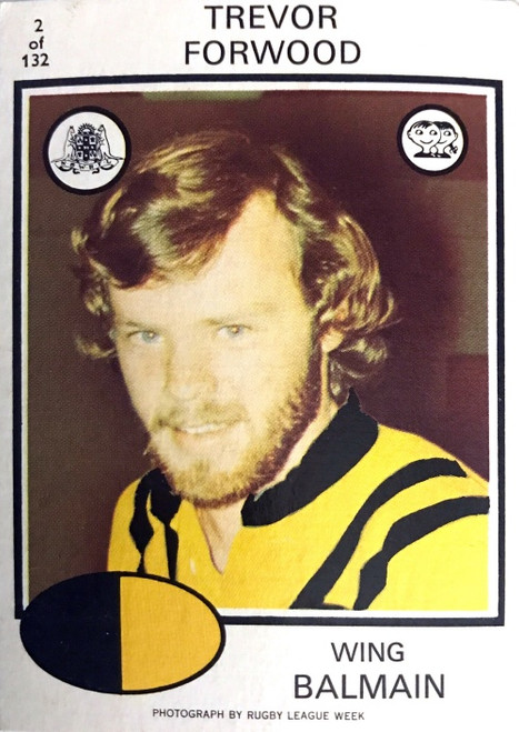 1975 Scanlens #02 TERRY FORWOOD Balmain Tigers Rugby League Card
