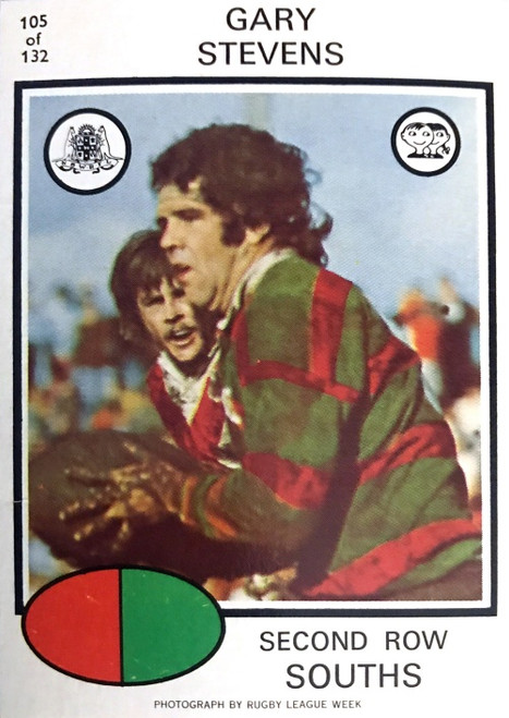 1975 Scanlens #105 GARY STEVENS Sth Sydney Rabbitohs Rugby League Card