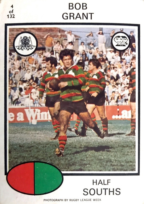 1975 Scanlens #04 BOB GRANT Sth Sydney Rabbitohs Rugby League Card