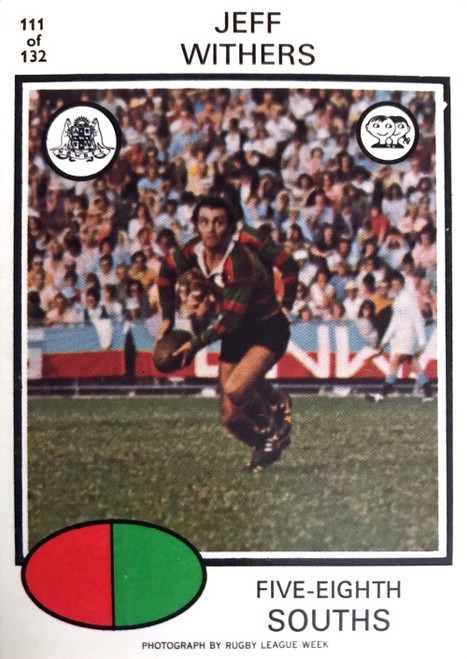 1975 Scanlens #111 JEFF WITHERS Sth Sydney Rabbitohs Rugby League Card