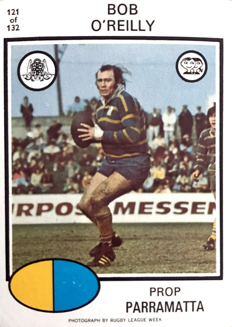 1975 Scanlens #121 BOB O'REILLY Parramatta Eels Rugby League Card