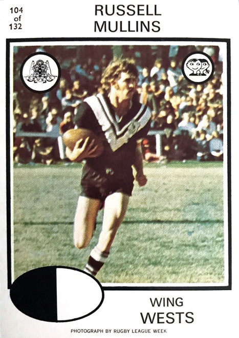 1975 Scanlens #104 RUSSELL MULLINS Western Suburbs Magpies Rugby League Card