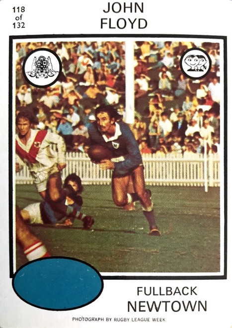 1975 Scanlens #118 JOHN FLOYD Newtown Jets Rugby league Card