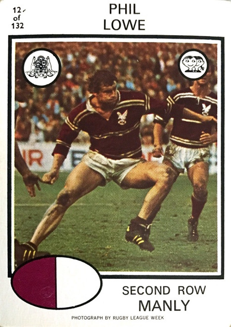 1975 Scanlens #12 PHIL LOWE Manly Sea-Eagles Rugby League Card