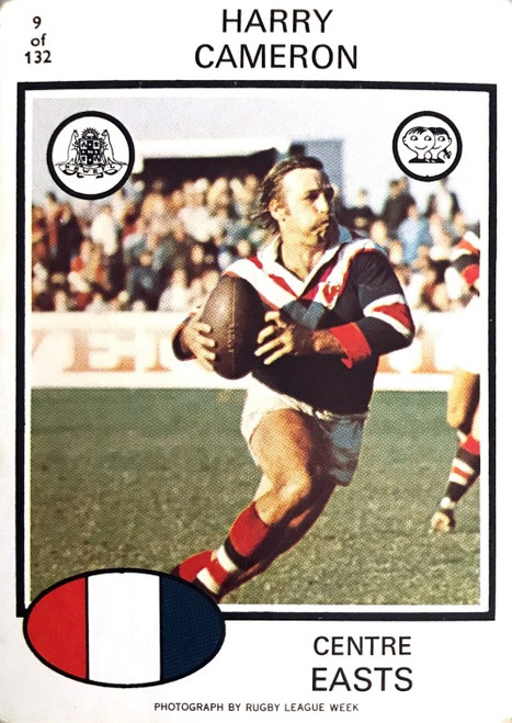 1975 Scanlens #09 HARRY CAMERON Eastern Suburbs Roosters Rugby League Card