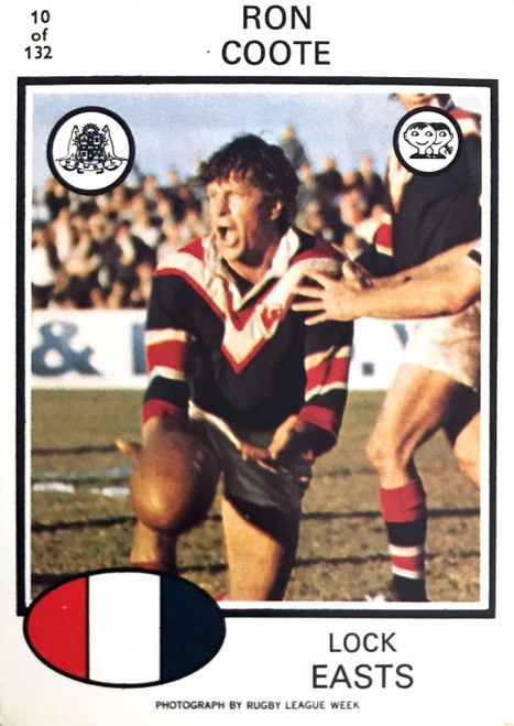 1975 Scanlens #10 RON COOTE Eastern Suburbs Roosters Rugby League Card