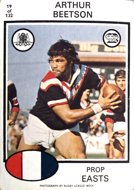 1975 Scanlens #19 ARTHUR BEETSON Eastern Suburbs Roosters Rugby League Card