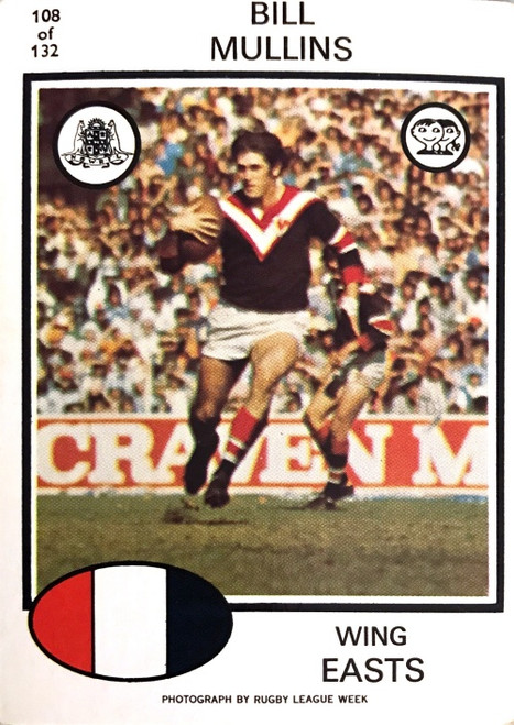 1975 Scanlens #108 BILL MULLINS Eastern Suburbs Rugby League Card