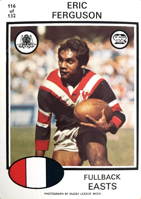 1975 Scanlens #116 ERIC FERGUSON Eastern Suburbs Roosters Rugby League Card