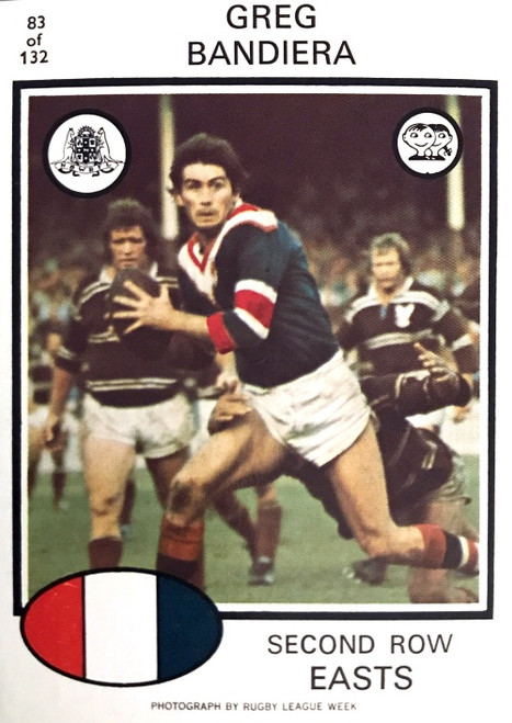 1975 Scanlens #83 GREG BANDIERA Eastern Suburbs Roosters Rugby League Card