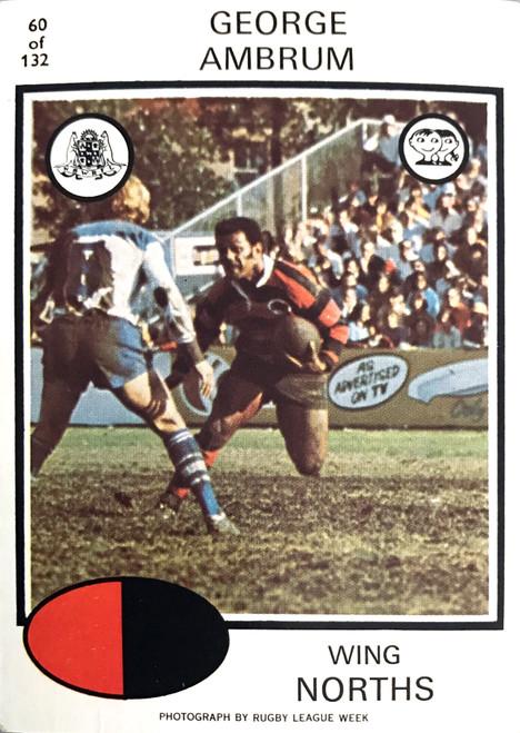 1975 Scanlens #60 GEORGE AMBRUM Nth Sydney Bears Rugby League Card
