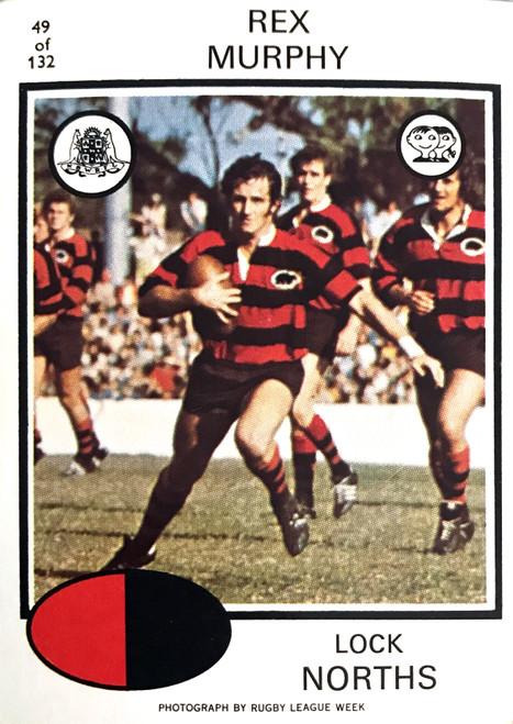 1975 Scanlens #49 REX MURPHY Nth Sydney Bears Rugby League Card