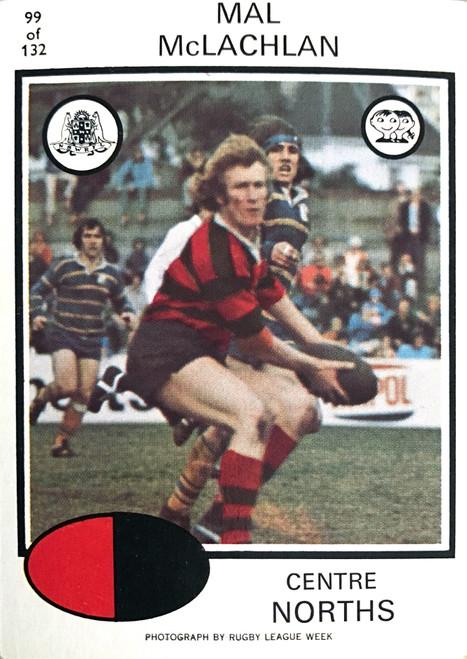 1975 Scanlens #99 MAL McLACHLAN Nth Sydney Bears Rugby League Card