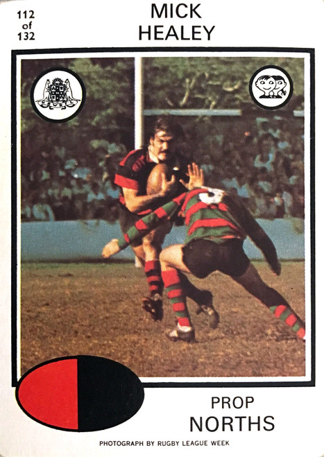 1975 Scanlens #112 MICK HEALEY Nth Sydney Bears Rugby League Card