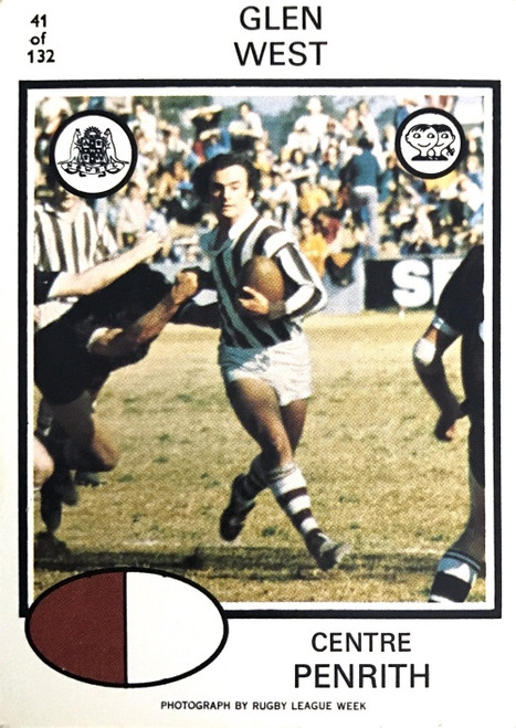 1975 Scanlens #41 GLEN WEST Penrith Panthers Rugby League Card
