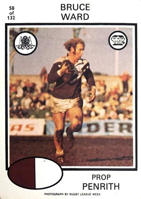 1975 Scanlens #58 BRUCE WARD Penrith Panthers Rugby League Card