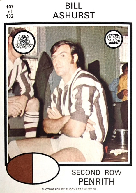 1976 Scanlens #107 BILL ASHURST Penrith Panthers Rugby League Card