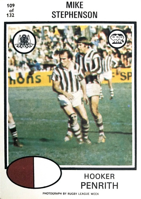 1975 Scanlens #109 MIKE STEPHENSON Penrith Panthers Rugby League Card