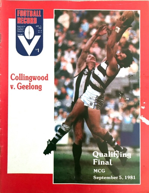 1981 COLLINGWOOD V GEELONG Qualifying Final Football Record