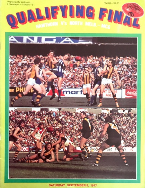 1977 HAWTHORN V NORTH MELBOURNE Qualifying Final Football Record