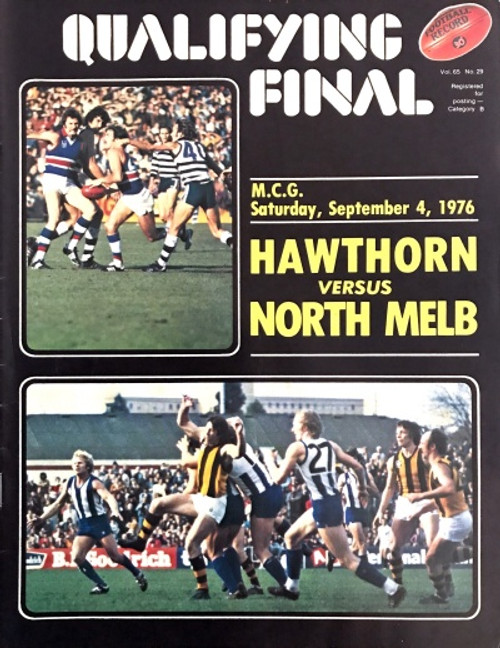 1976 HAWTHORN V NORTH MELBOURNE Qualifying Final Football Record