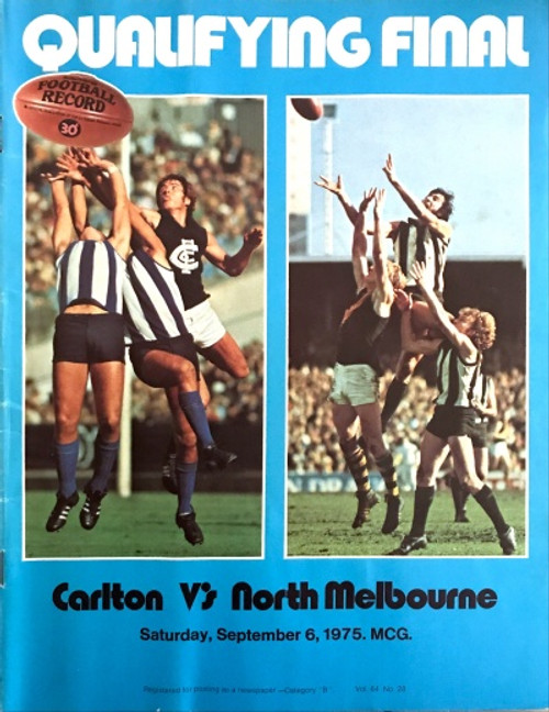 1975 CARLTON V NORTH MELBOURNE Qualifying Final Football Record