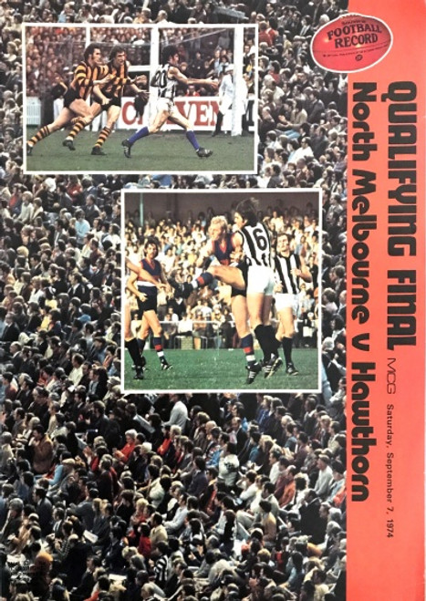 1974 NORTH MELBOURNE V HAWTHORN Qualifying Final Football Record
