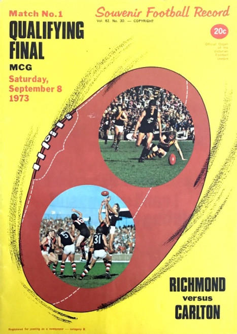 1973 RICHMOND V CARLTON Qualifying Final Football Record