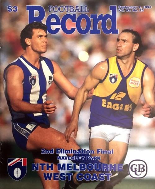 1993 NORTH MELBOURNE V WEST COAST EAGLES Elimination Final Football Record