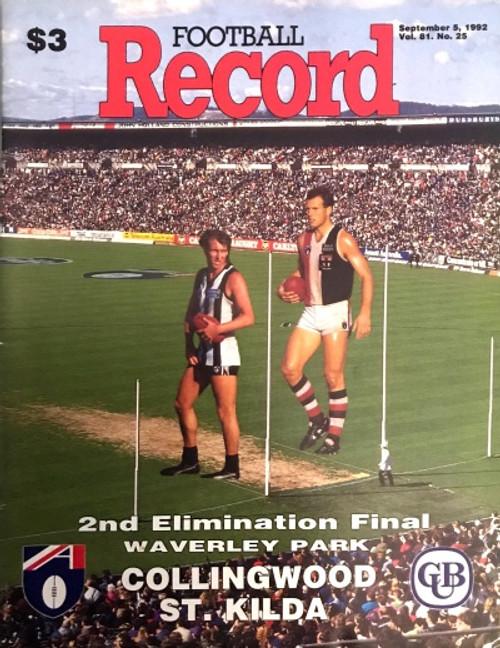 1992 COLLIONGWOOD V ST KILDA Elimination Final Football Record