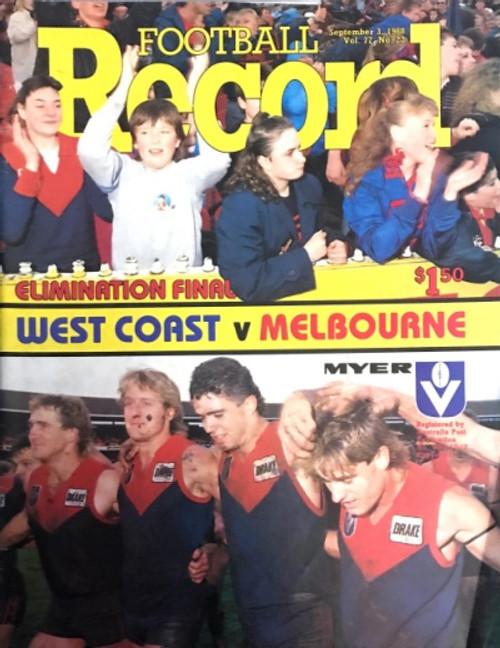 1988 WEST COAST EAGLES V MELBOURNE Elimination Finals Football Record