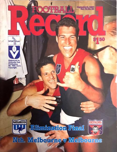 1987 NORTH MELBOURNE V MELBOURNE Elimination Final Football Record