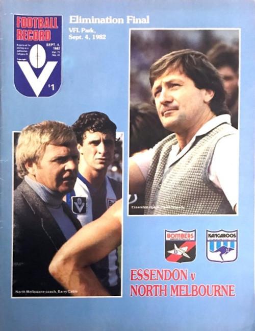 1982 ESSENDON V NORTH MELBOURNE Elimination Final Football Record